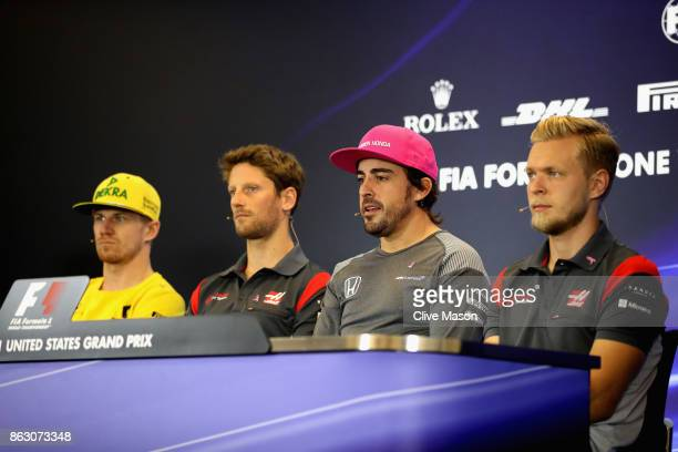 The Drivers Press Conference featuring Nico Hulkenberg of Germany and Renault Sport F1 Romain Grosjean of France and Haas F1 Fernando Alonso of Spain...