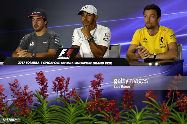 The Drivers Press Conference with Fernando Alonso of Spain and McLaren Honda Lewis Hamilton of Great Britain and Mercedes GP and Jolyon Palmer of...