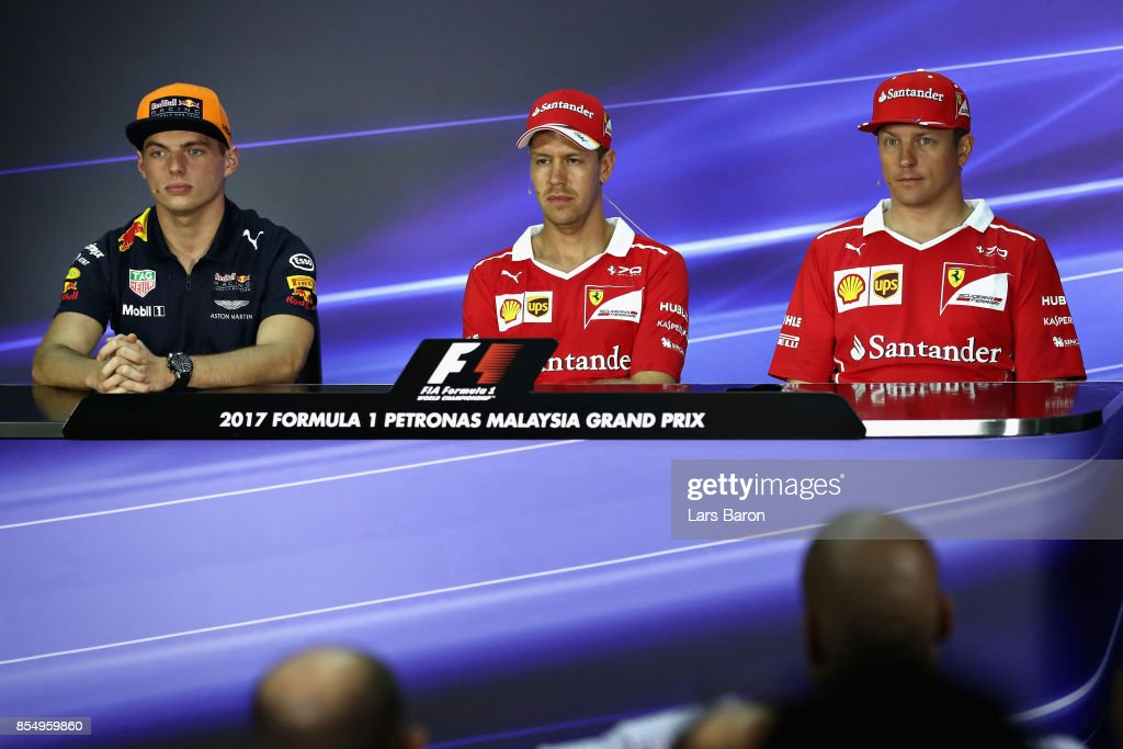 The Drivers Press Conference with Max Verstappen of Netherlands and Red Bull Racing, Sebastian Vettel of Germany and Ferrari and Kimi Raikkonen of Finland and Ferrari during previews for the Malaysia Formula One Grand Prix at Sepang Circuit on September 28, 2017 in Kuala Lumpur, Malaysia.
