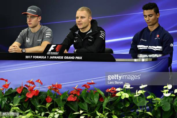 The Drivers Press Conference with Stoffel Vandoorne of Belgium and McLaren Honda Valtteri Bottas of Finland and Mercedes GP and Pascal Wehrlein of...