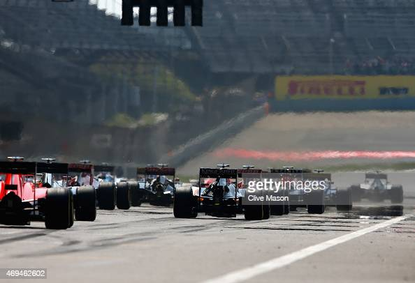 The drivers start the Formula One Grand Prix of China at Shanghai International Circuit on April 12 2015 in Shanghai China