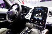 The driving control system and multisense computer panel sit on display inside the new Renault Espace automobile produced by Renault SA following its...
