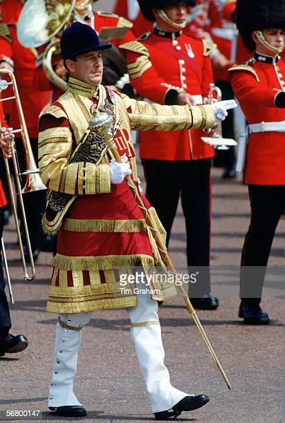 The Drum Major marching through the Mall as part of Trooping the Colour ceremony London in the 1990s