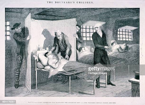 'The Drunkard's Children' c1847 showing the interior of a prison hospital where the dying drunkard's son is being treated Early dissipation has...