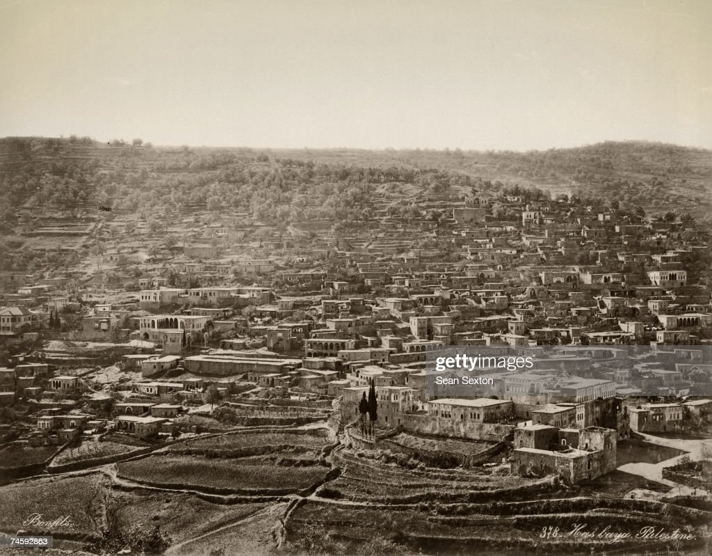 The Druze town of Hasbaya in Lebanon with Hasbaya Castle in the bottom right circa 1870