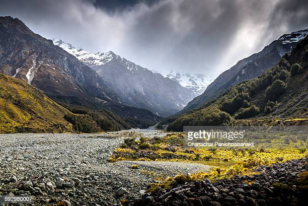 The dry river in New Zealand