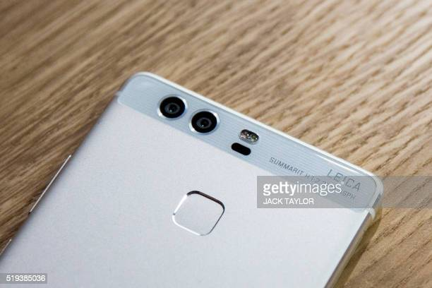 The dual camera lenses of the new P9 smartphone by Chinese tech company Huawei are seen during the phone's launch at Battersea Evolution in London on...