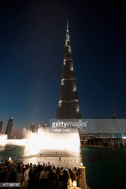 The Dubai Fountain at Burj Khalifa tower at night