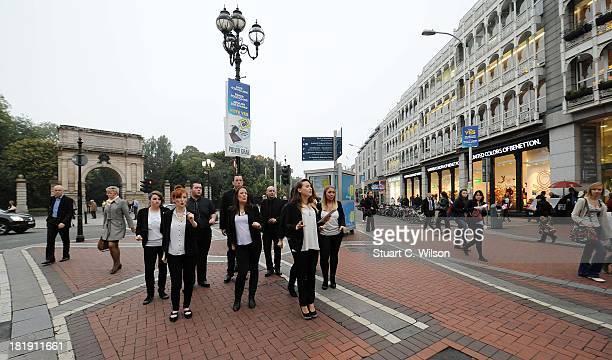 The Dublin Gospel Choir perform on Grafton Street ahead of the fifth annual Arthur's Day celebrations on September 26 2013 in Dublin Ireland The...