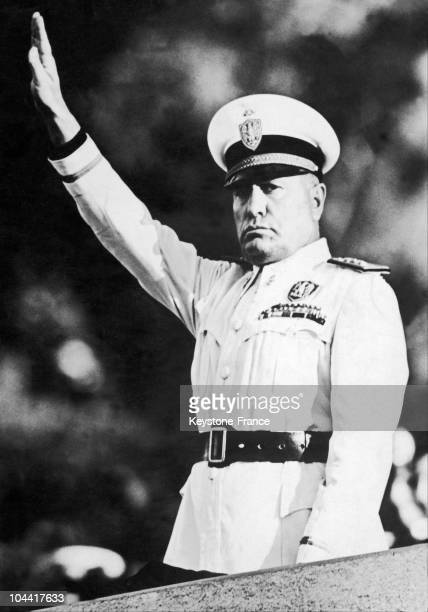 The Duce Benito MUSSOLINI performing the Fascist salute in full military dress between 1930 and 1943