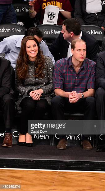 The Duchess and Duke of Cambridge takes in the game between the Cleveland Cavaliers against the Brooklyn Nets at the Barclays Center on December 8...