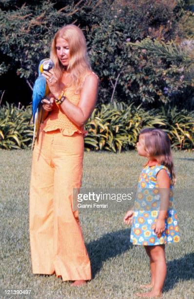 The Duchess Cayetana of Alba in the gardens of the 'Palacio de Duenas' with her daughter Eugenia Sevilla Spain