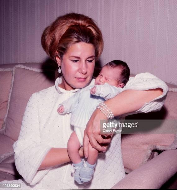 The Duchess Cayetana of Alba with her daughter Eugenia XI Duchess of Montoro at the Palacio de Liria 29th November 1968 Madrid Spain