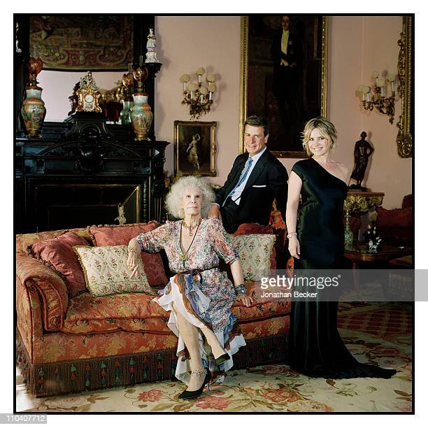 The Duchess of Alba Dona Cayetana FitzJames Stuart and children Cayetano Martinez de Irujo and Eugenia Martinez de Irujo are photographed in the...