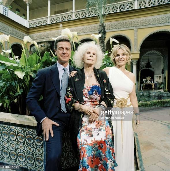 The Duchess of Alba Dona Cayetana FitzJames Stuart and children Cayetano Martinez de Irujo and Eugenia Martinez de Irujo are photographed in the...