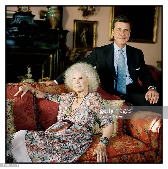 The Duchess of Alba Dona Cayetana FitzJames Stuart and son Cayetano Martinez de Irujo are photographed in the piano room of the Palacio de Duenas for...