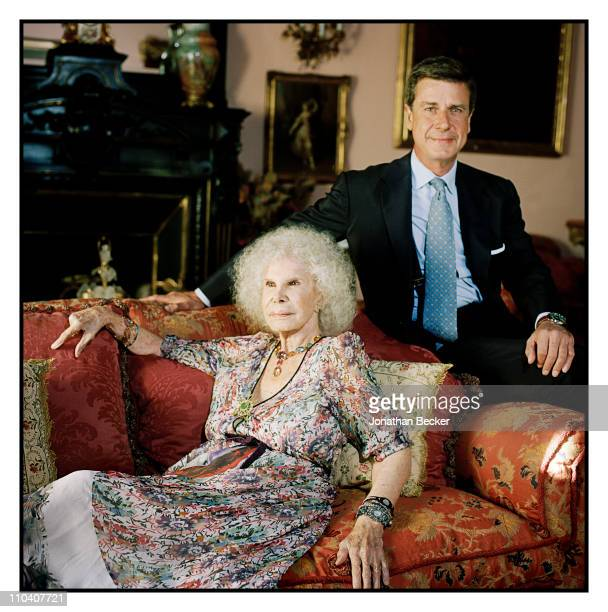 The Duchess of Alba Dona Cayetana FitzJames Stuart and son Cayetano Martinez de Irujo are photographed in the piano room of the Palacio de Duenas for...