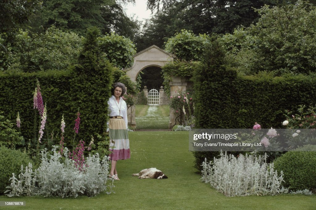 The Duchess of Beaufort, Lady Caroline Somerset, in her garden, 1981.