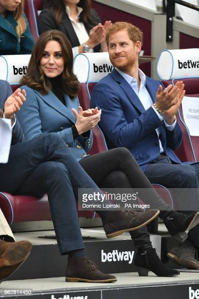 The Duchess of Cambridge and Prince Harry at West Ham UnitedOtildes London Stadium as they attend the graduation ceremony for more than 150 Coach...