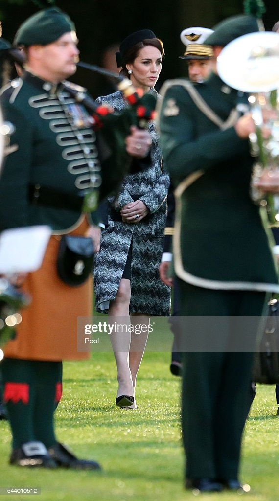 The Duchess of Cambridge attends part of a military-led vigil to commemorate the 100th anniversary of the beginning of the Battle of the Somme at the Thiepval memorial to the Missing in June 30, 2016 in Thiepval, France. The event is part of the Commemoration of the Centenary of the Battle of the Somme at the Commonwealth War Graves Commission Thiepval Memorial in Thiepval, France, where 70,000 British and Commonwealth soldiers with no known grave are commemorated.