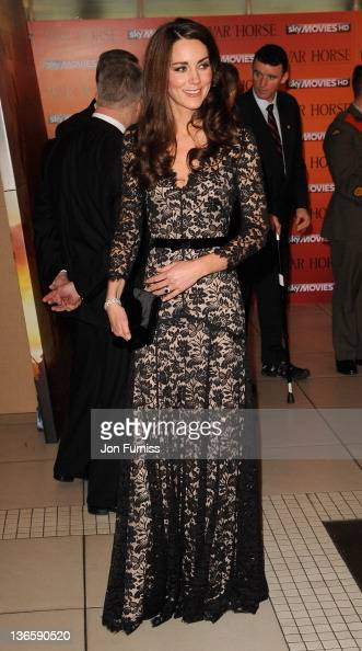 The Duchess of Cambridge attends the 'War Horse' UK film premiere at the Odeon Leicester Square on January 8 2012 in London England