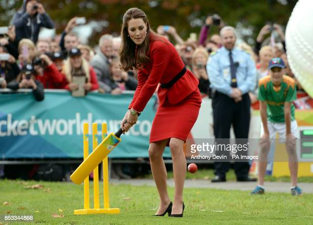 The Duchess of Cambridge bats to The Duke of Cambridge's bowling as they participates in a 2015 Cricket World Cup event in Christchurch during the...