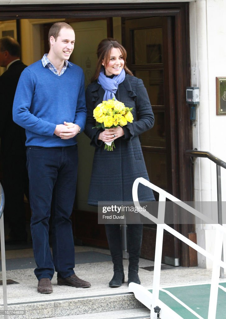The Duchess of Cambridge, <a gi-track='captionPersonalityLinkClicked' href=/galleries/search?phrase=Catherine+-+Duchess+of+Cambridge&family=editorial&specificpeople=542588 ng-click='$event.stopPropagation()'>Catherine</a> Middleton and <a gi-track='captionPersonalityLinkClicked' href=/galleries/search?phrase=Prince+William&family=editorial&specificpeople=178205 ng-click='$event.stopPropagation()'>Prince William</a>, Duke of Cambridge leave the King Edward VII hospital where she has been treated for hyperemesis gravidarum, extreme morning sickness at King Edward VII Hospital on December 6, 2012 in London, England.