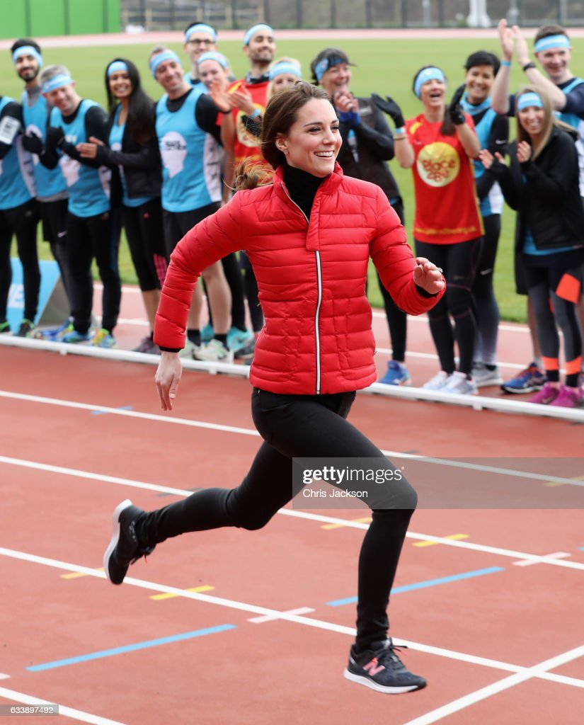 The Duchess of Cambridge competes against The Duke of Cambridge and Prince Harry during the Team Heads Together at a London Marathon Training Day at the Queen Elizabeth Olympic Park on February 5, 2017 in London, England.