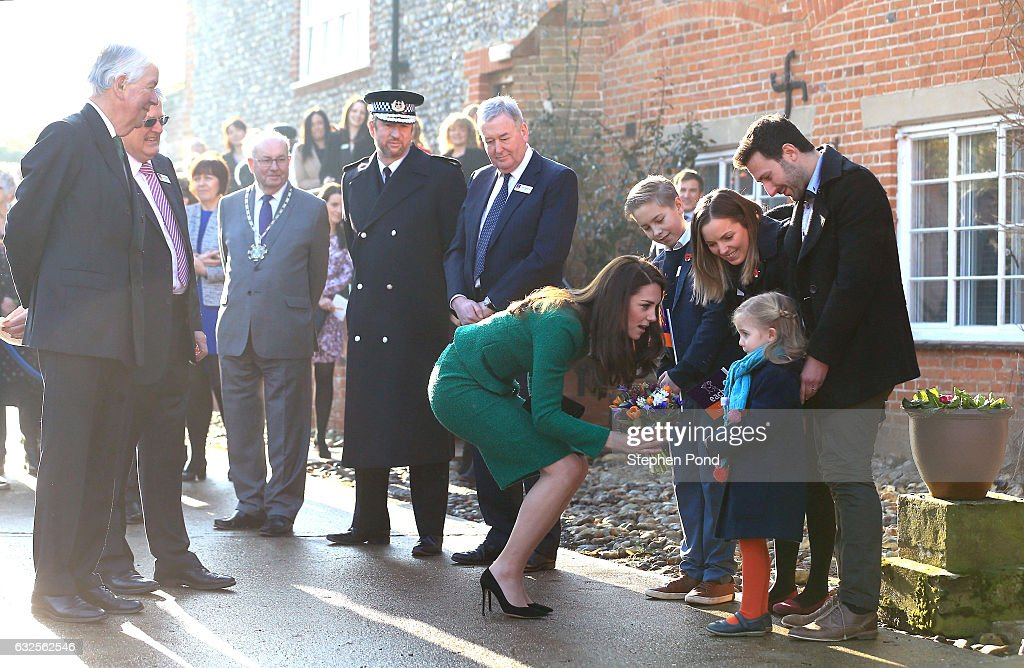 The Duchess of Cambridge during an official visit to receive an update on The Nook Appeal at EACH on January 24, 2017 in Quidenham, Norfolk. HRH is Royal Patron of EACH (East Anglia's Children's Hospices) and launched The Nook Appeal in 2014.