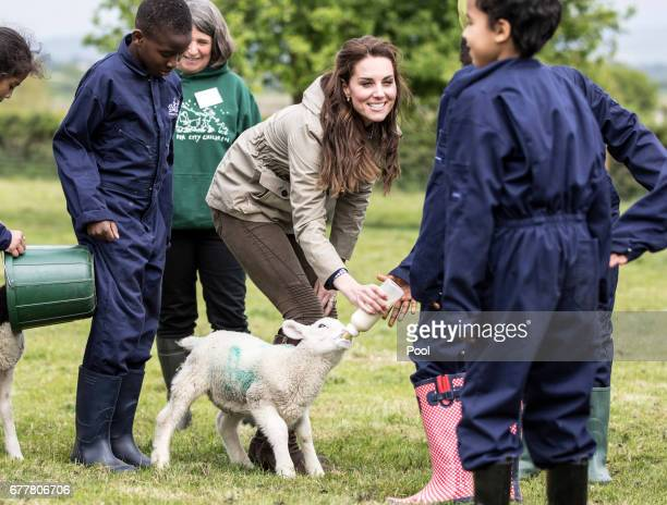 The Duchess of Cambridge feeds 'Stinky' the lamb surrounded by children from Vauxhall Primary school in London during a visit to a 'Farms for...