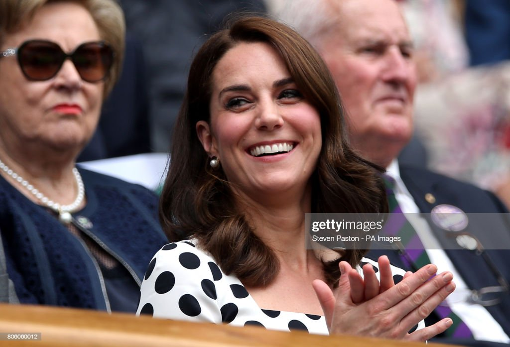The Duchess of Cambridge in the royal box of Centre Court on day one of the Wimbledon Championships at The All England Lawn Tennis and Croquet Club, Wimbledon.