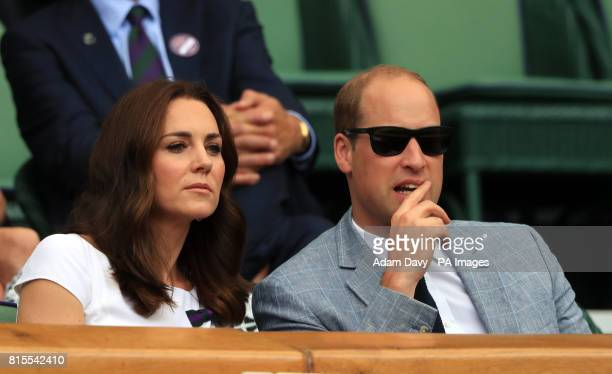 The Duchess of Cambridge Patron of the All England Lawn Tennis and Croquet Club and The Duke of Cambridge in the royal box on day thirteen of the...