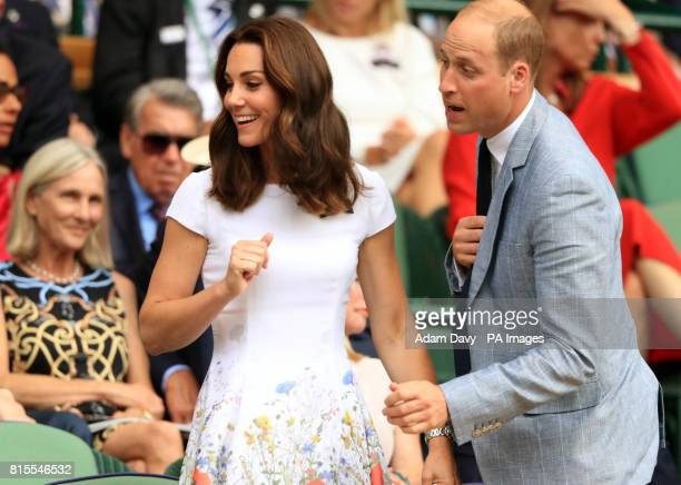 The Duchess of Cambridge Patron of the All England Lawn Tennis and Croquet Club and The Duke of Cambridge on day thirteen of the Wimbledon...