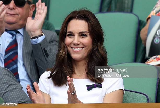 The Duchess of Cambridge Patron of the All England Lawn Tennis and Croquet Club on day thirteen of the Wimbledon Championships at The All England...