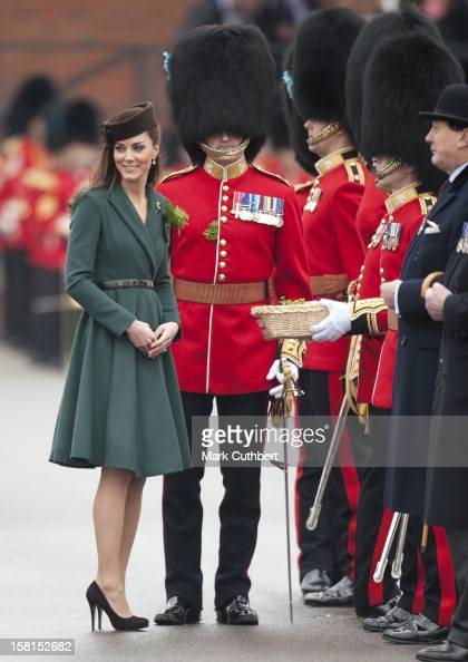 The Duchess Of Cambridge Presents Shamrocks To The Irish Guards At The St Patrick's Day Parade At Mons Barracks In Aldershot