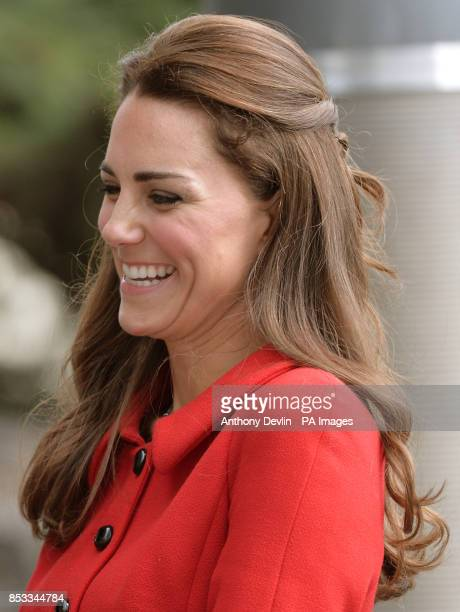 The Duchess of Cambridge smiles as the Duke and Duchess of Cambridge are greeted by members of the Ngai Tahu iwi as they attend a welcome ceremony at...