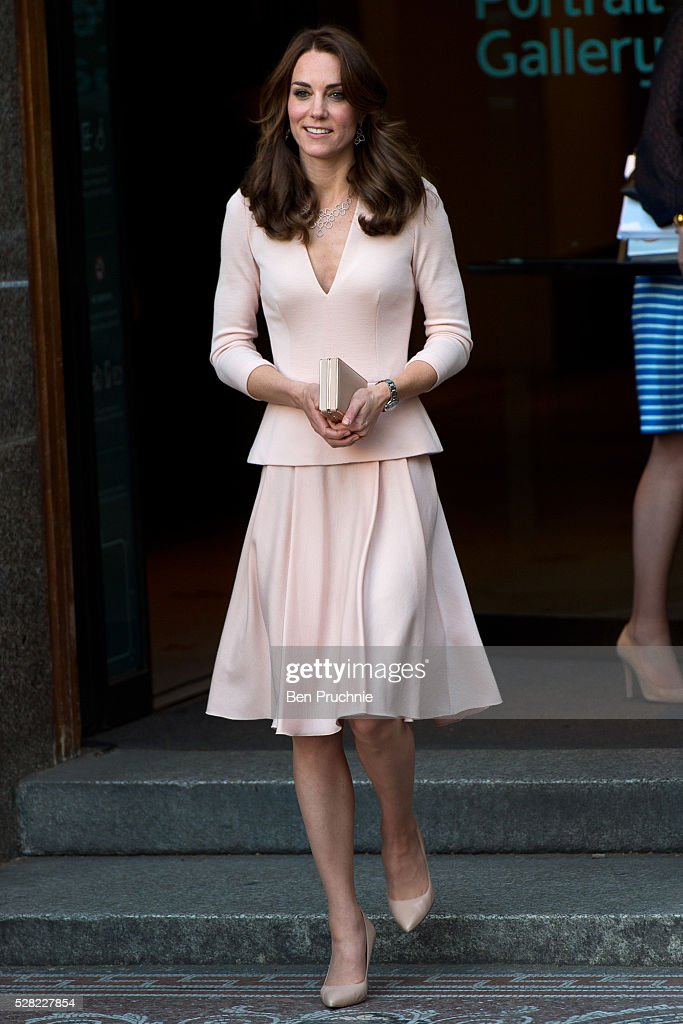 The Duchess of Cambridge visits the 'Vogue 100: A Century Of Style' exhibition at National Portrait Gallery on May 4, 2016 in London, England. The Duchess appears on the cover of the centenary issue in June 2016.