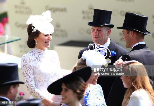 The Duchess of Cambridge with Mike Tindall during day one of Royal Ascot at Ascot Racecourse