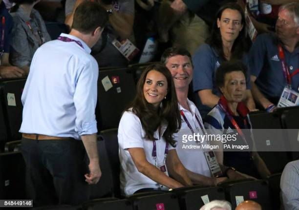 The Duchess of Cambridge with the Princess Royal and Timothy Lawrence and NickClegg as they arrive to watch Great Britain's Nicola Adams fight with...