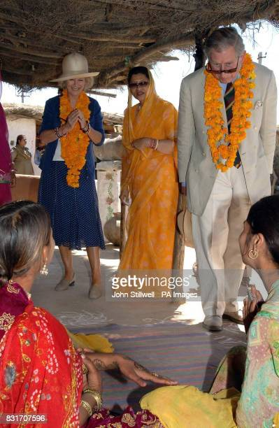 The Duchess of Cornwall and Prince of Wales admire the work of a henna painting during a visit to Artiya in the state of Rajasthan in India Wednesday...