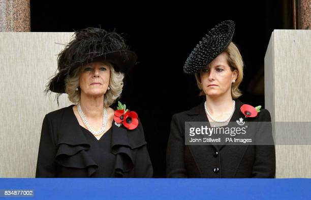 The Duchess of Cornwall and the Countess of Wessex watch the Remembrance day service and parade from a balcony of the Foreign and Commonwealth office...