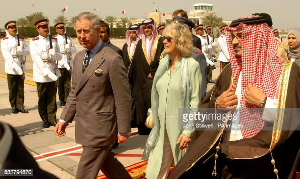 The Duchess of Cornwall and the Prince of Wales arrive at Bahrain International Airport in Manama Bahrain to meet with the state's Crown Prince...