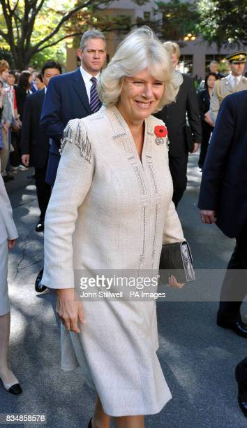 The Duchess of Cornwall arrives at the Keio University in central Tokyo this morning