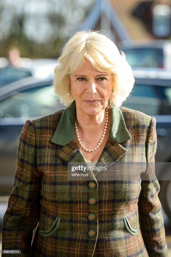 The Duchess of Cornwall arrives to meet staff and patients during a visit to Prospect Hospice's new facility at Savernake Hospital which gives care and support to patients, carers and families dealing with terminal illness on February 9, 2016 in Marlborough, England.