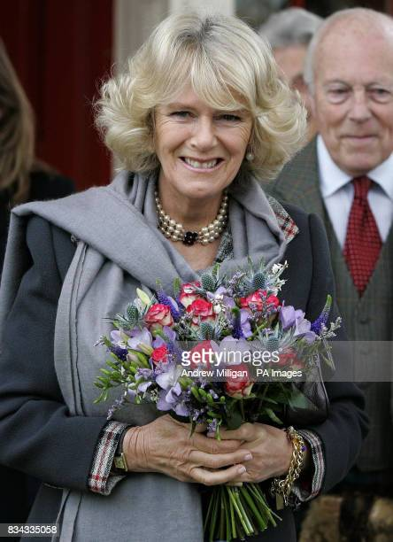 The Duchess of Cornwall at the old railway station in Ballater Royal Deeside where a reproduction Victorian railway carriage has been built
