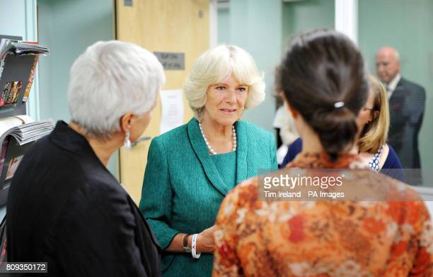 The Duchess of Cornwall at Ynys Saff Cardiff and Vale Sexual Assault Referral Centre speaking with speaking with staff during a visit today