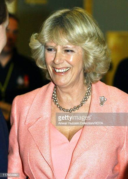 The Duchess of Cornwall attends the Welsh Rugby Union Grand Slam Celebration at the Millennium Stadium on May 2 2005 in Cardiff Wales