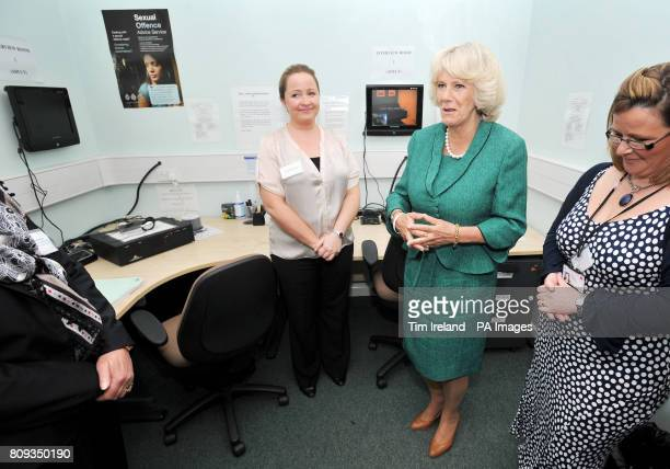 CROP The Duchess of Cornwall in the interview monitoring room at Ynys Saff Cardiff and Vale Sexual Assault Referral Centre speaking with DC Angela...