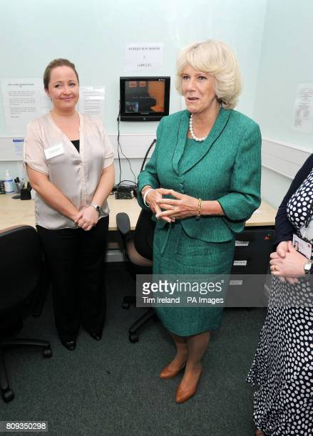 The Duchess of Cornwall in the interview monitoring room at Ynys Saff Cardiff and Vale Sexual Assault Referral Centre speaking with DC Angela Tchalbi...