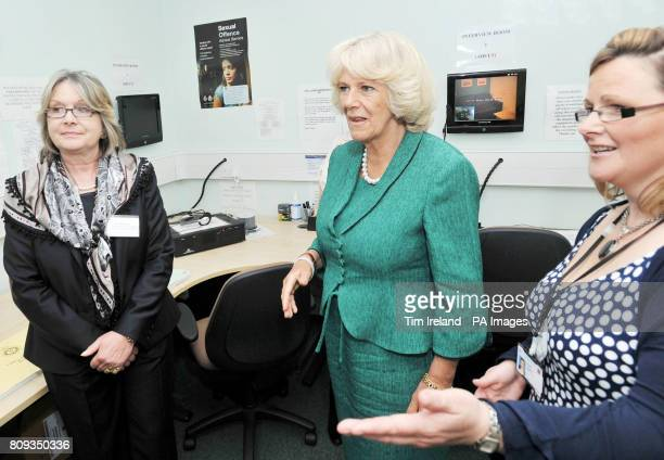 The Duchess of Cornwall in the interview monitoring room at Ynys Saff Cardiff and Vale Sexual Assault Referral Centre accompanied by SARC manager...